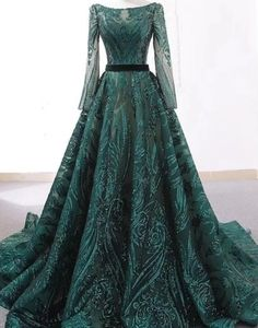 Royal Emerald lace sequin gown